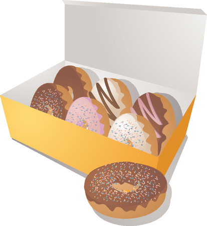 A variety of donuts in a box. Vector illustration Vector