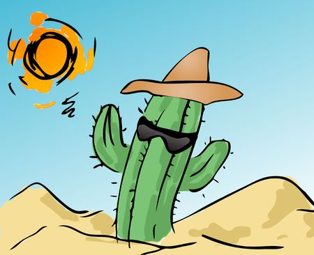 scorching: Illustration of a cool cactus, with a hat and sunglasses, in the scorching desert Stock Photo