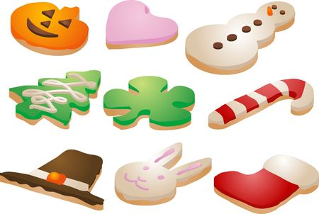 Festive seasonal cookies, decorated with icing. Isometric Vector illustration illustration