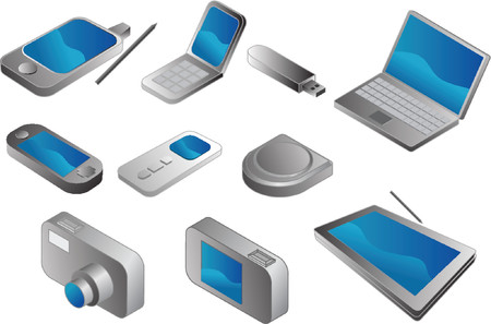 portable: Electronic gadgets, vector clipart isometric style: pda phone, clamshell cellphone, usb pendrive, notebook, portable game player, mp3 player, cd player, digital camera, tablet pc