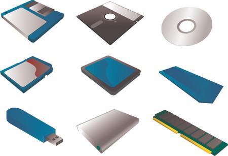 """cf: Supporti di memorizzazione, illustrazioni vettoriali, 3d isometrico stile: 3 1  2 """"dischetto floppy, 5 1  4"""", cd, sd card, scheda CF, Memory Stick, pendrive USB, disco rigido esterno, la memoria RAM Vettoriali"""