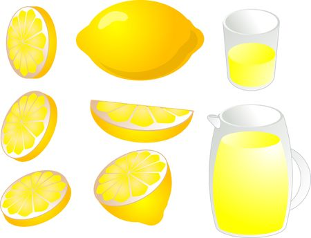 Illustration of lemons in various cuts and slices, with lemonade in a glass and pitcher illustration