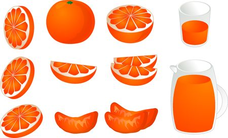 Oranges, depicting various slices, segments, halve and whole of orangs plus juice in a pithcer and a glass photo