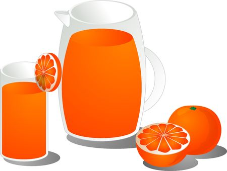Orange juice illustration, showing juce in a glass and pitcher as well as a cut and whole orange illustration