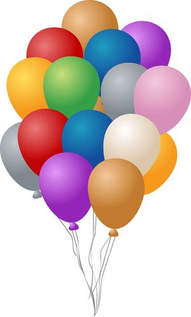 inflated: Festive party balloons, inflated and hanging by string,  illustration Stock Photo