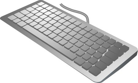 keyboard in 3d isometric view, computer input device silver color Stock Photo - 1016149