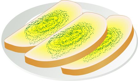garlic bread: Illustration of two slices of garlic bread on a plate