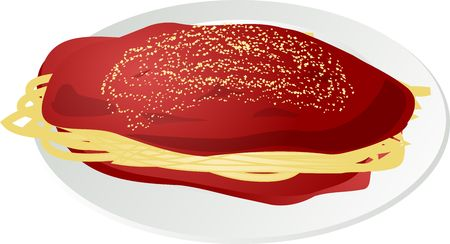 Illustration of a plate of spaghetti, with sauce and cheese illustration