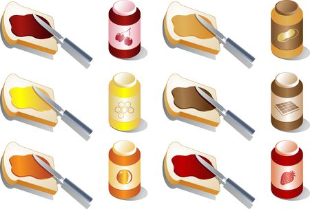 Various spreads and jams: marmalade, strawberry and cherry, peanut butter, chocolate. Isometric 3d illustration Stock Illustration - 1066661