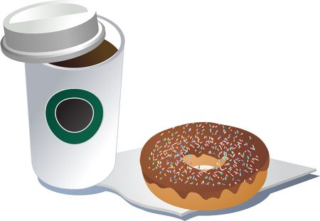polystyrene: Coffee in a polystyrene cup and donut on a napkin, 3d isometric illustration