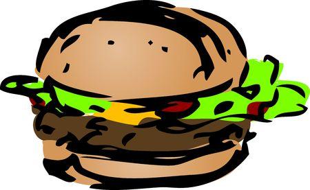 inked: Hamburger fast food, hand drawn inked look illustration