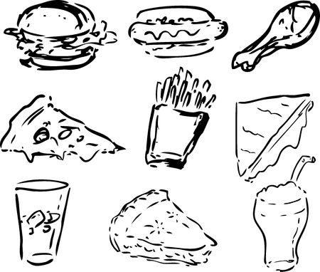 Fast food icons, black and white hand-drawn look: hamburger, hotdog, fried chicken, pizza, fries, grilled cheese sandwich, pie, shake