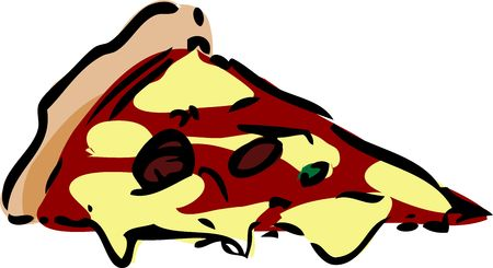 Slice of pizza fast food, hand drawn inked look illustration illustration