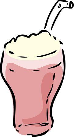 inked: Strawberry Milkshake beverage, hand drawn inked look illustration