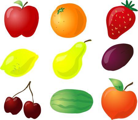 Illustration of fruits, hand-drawn look with no lines: apple, orange, strawberry, lemon, pear, plum, cherries, watermelon, peach illustration