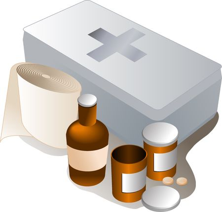 firstaid: First aid kit and its contents including pills and bandages