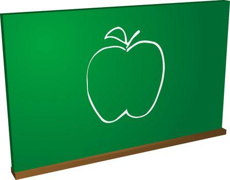 A blackboard with an apple on it photo