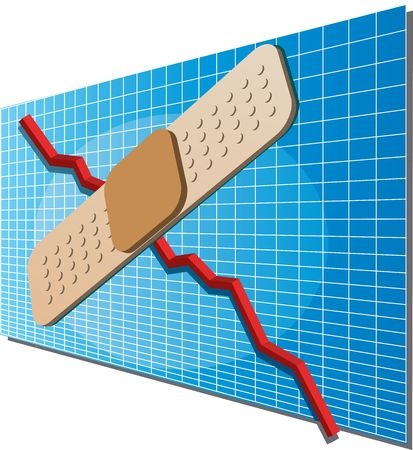 downwards: A downwards financial business chart with a bandage on top indicating a fix