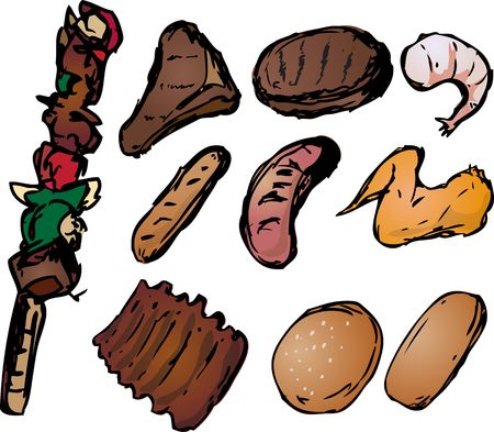 Barbecued meats with shish kebab, steak, burger, sausages, ribs, shrimp and wings. Retro hand-drawn look photo
