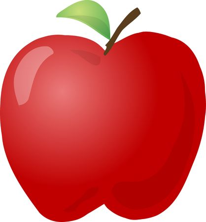 apple clipart: Sketch of an apple Hand-drawn lineart look illustration