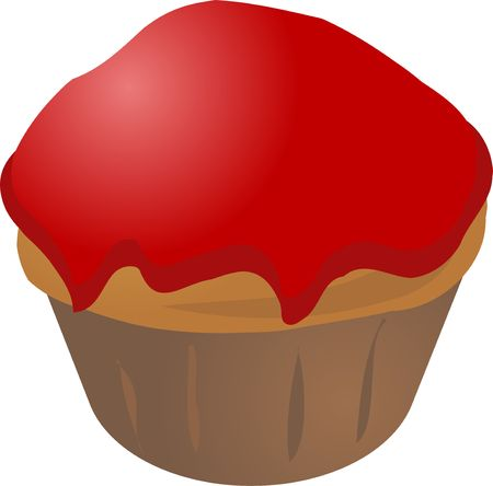 Jam covered cupcake muffin. Vector isometric illustration Stock Illustration - 1216170