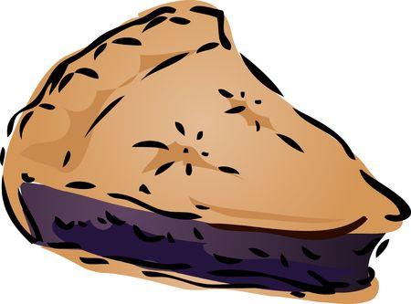 blueberry pie: Blueberry desert Pie, hand drawn retro illustration Stock Photo