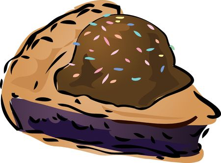 blueberry pie: Blueberry pie with icecream and sprinkles Pie, hand drawn retro illustration Stock Photo