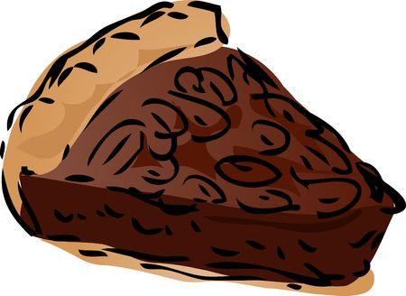 pecan: Pecan dessert Pie, hand drawn retro illustration Stock Photo