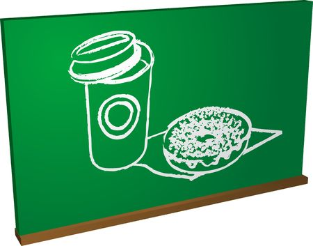 Blackboard with a donut and coffee, food education photo