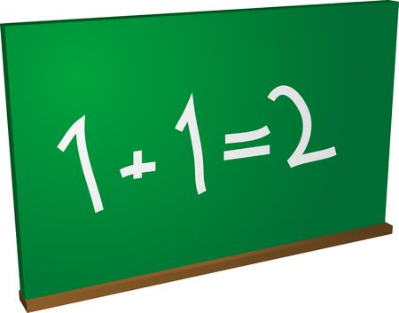 Blackboard with simple addition, basic math education photo