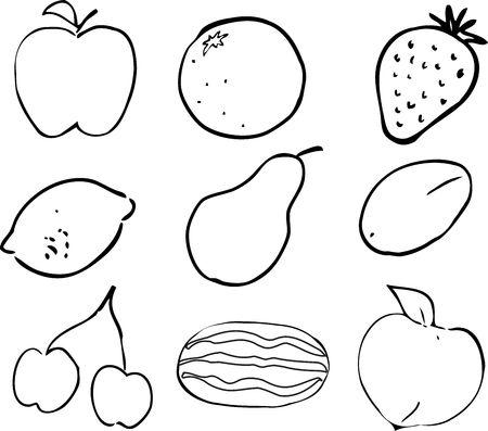 Black & White lineart Illustration of fruits, hand-drawn look: apple, orange, strawberry, lemon, pear, plum, cherries, watermelon, peach