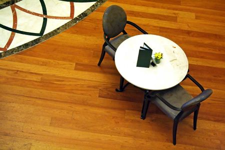 topdown: Overhead view of a cafe table with chairs