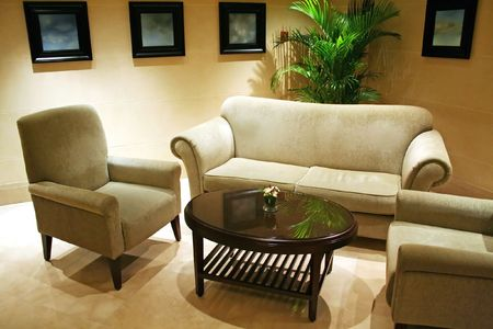 Waiting area living room with sofas and table Stock Photo - 1281692