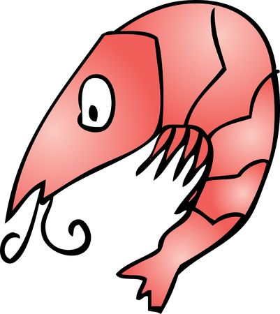 Shrimp Cute friendly cartoon marine creature hand-drawn illustration