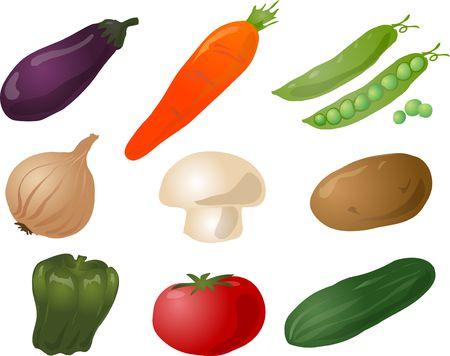 Illustration of vegetables, hand-drawn look: eggplant, carrot, peas, onion, mushroom, potato, pepper, tomato, cucumber Stock Illustration - 1304068