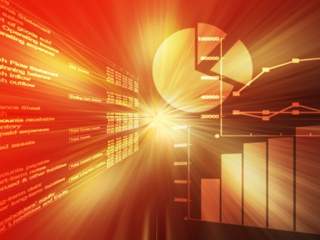 commissions: Spreadsheet data and business charts  glowing wireframe red and orange Stock Photo