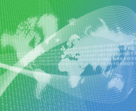 Data transfer over a map of the world green blue background Stock Photo