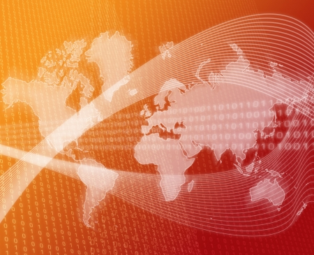 Data transfer over a map of the world red orange Stock Photo - 1304081