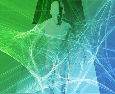 spying: A man surrounded by information green blue background Stock Photo