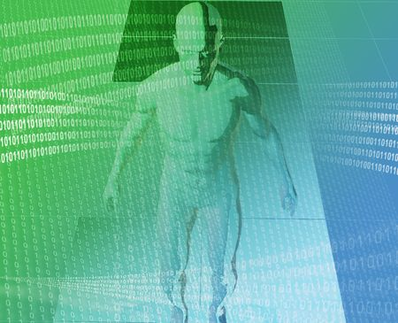 A man surrounded by information green blue background photo