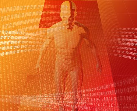 A man surrounded by information red orange background photo