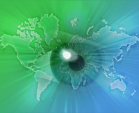 Digital collage of an eye over a map of the world green photo
