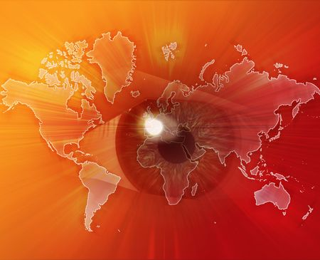 Digital collage of an eye over a map of the world orange photo