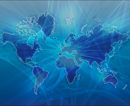 computer hacker: Data transfer over a map of the world blue Stock Photo