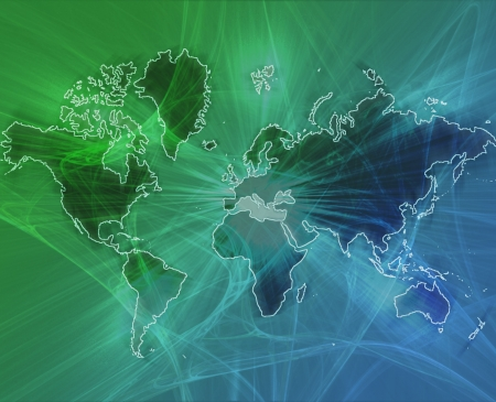 programme: Data transfer over a map of the world green blue background Stock Photo
