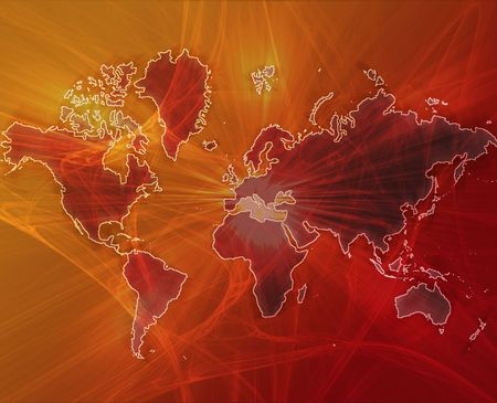 programme: Data transfer over a map of the world red orange Stock Photo