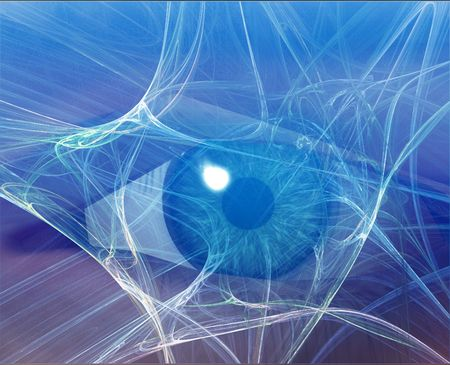 Eye viewing electronic information Blue background web