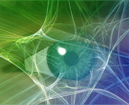 espionage: Eye viewing electronic information Green Background Web