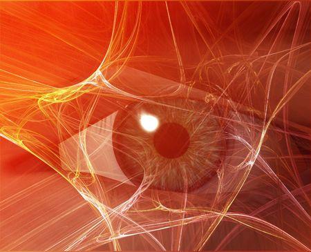 Eye viewing electronic information  Orange background web photo