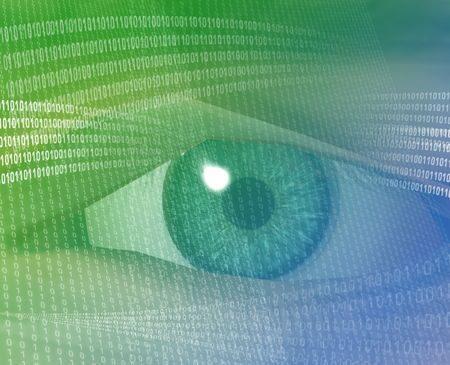 espionage: Eye viewing electronic information Green background digits